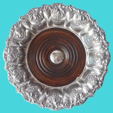 Champagne Wine Coaster Grapes Leaves Motif Silver Plated Wood Base
