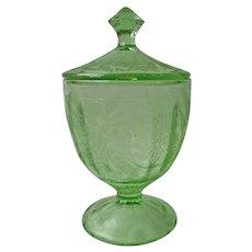 Depression Candy Jar Urn Poinsettia Green Glass Vintage Jeannette