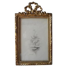 Bow Top Gold Tone Metal Standing Small Photo Frame Antique