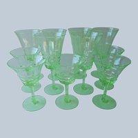 1920s Uranium Green Glass Wine Glasses Cocktail Champagne Vintage