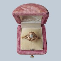 Victorian Revival Ring 10 Antiqued Gold Filled or Plated Glass Faux Diamond
