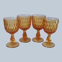 Fenton Thumbprint Amber Glass Goblets Water Wine Vintage 4