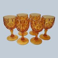 Fenton Bulls Eye Water Goblets Amber Red Cliff Glass Vintage Set 6
