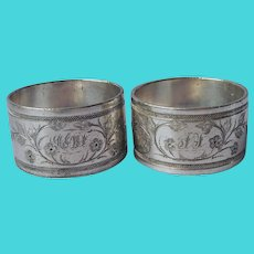 Victorian Napkin Rings Silver Plated Dove Bird Monogram F Antique Pair