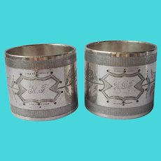 Victorian Wide Napkin Rings Silver Plated  Monogram F Antique Pair
