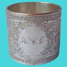 Antique Wide Napkin Ring Silver On Copper Ornate Engraving Monogram K. H. T.