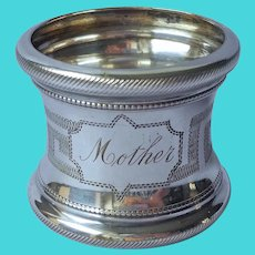 Mother Engraved Antique Napkin Ring Silver Plated Greek Key