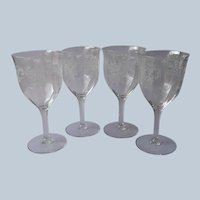 Fostoria Florid 4 Wine Glasses Ferns Beautiful Etched Glass Vintage
