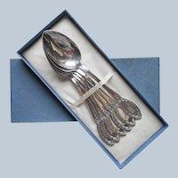Monogram B Diana 1910 Set 6 Soup Spoons Antique Silver Plated