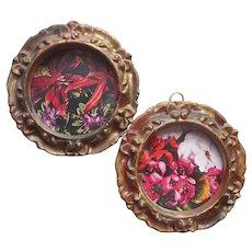 Pair Small Round Frames Vintage Mid Century Faux Florentine Plastic