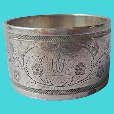 Victorian Napkin Ring Silver Plated Dove Bird Monogram R. F. Antique