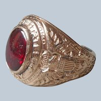 United States Army Ring Gold Filled Size 9 Red Glass Stone Vintage Uncas