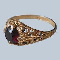 18K Gold Electroplated Ring Vintage Filigree Dark Red Glass Stone 7