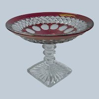 Westmoreland Ruby Stain Candy Compote Dish Vintage Wakefield Waterford