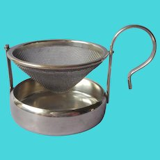 Tea Strainer Silver Plated Swivel Tilting With Drip Cup Vintage