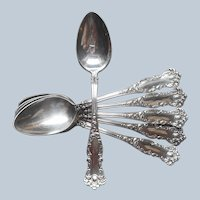 Demitasse Spoons Antique Silver Plated Oxford 1901 Set 6