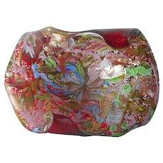 Murano Tutti Frutti Red Glass Bowl Ashtray Vintage Mid Century Italy