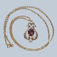 Vintage Avon Purple Glass Faux Pearl Drop Necklace Long Chain