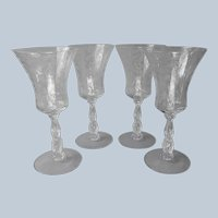 Cambridge Chantilly Water Goblets Glasses 4 Vintage  Etched