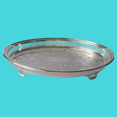 Oval Gallery Rim Tray Silver Plated Vintage Footed A Tiny Bit TLC