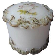 Antique Milk Glass Jar Round Box Ornate Scroll Motifs