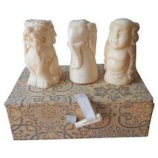 Chinese Carved Bone 3 Thimble Set In Box Vintage Elephant Buddha Dragon