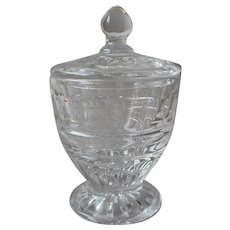 Fostoria Hermitage Mustard Jar Pot With Lid Vintage Glass