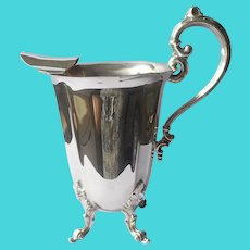 Water Pitcher Silver Plated Vintage High Legs Handle Ice Guard