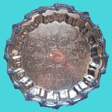 Silver On Copper Antique Tray Footed Heavy Worn Plated