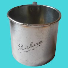 Barbara Engraved On Antique Baby Cup Silver Plated ca 1920