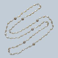 Glass Faux Pearls Filigree Beads On Wire Necklace Vintage AB Crystal 58 Inch