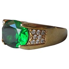 18K Gold Filled Ring Green Glass Stone Size 10