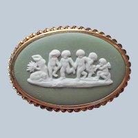 Wedgwood Green Jasperware Pin Gold Filled Vintage Cherubs Oval