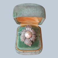 Sterling Silver Marcasite Faux Pearl Ring Size 8