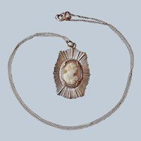 Hidden Religious Medal Shell Cameo Necklace St. Joseph Vintage Sterling Silver Chain