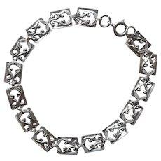 1950s Danecraft Sterling Silver Bracelet Dainty Links Larger 7.5 Inch Length