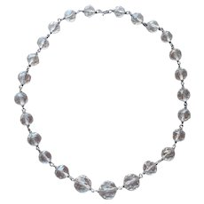 Art Deco Rock Crystal Beads Sterling Silver Necklace Vintage ca 1930