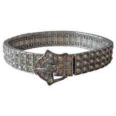 1917 Sterling Silver 3 Row Rhinestone Bracelet Diamonbar Antique