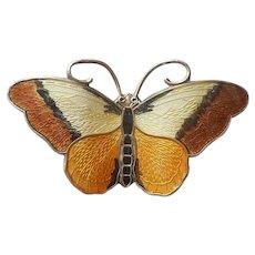 Hroar Prydz Norway Sterling Silver Enamel Butterfly Pin Vintage Brown Yellow Amber Black