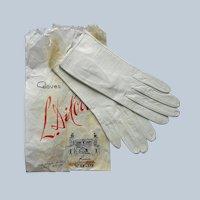 Unworn Italian White Leather Short Gloves 6.75 Vintage