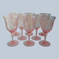 Pink Needle Etched Elegant Glass Wine Glasses 1920s Set 8 Vintage