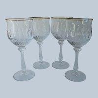 Mikasa Gold Crown 4 Water Glasses Goblets Stemware