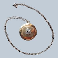 US Army Sweetheart Locket Reversible WWII Gold Filled Vintage Necklace Chain