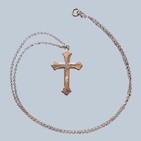 Antique Gold Filled Cross Glass Stones Faux Diamonds On Chain Necklace