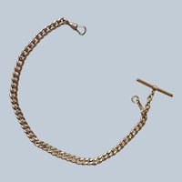Watch Chain Antique Gold Filled T Bar Heavy Flat Links