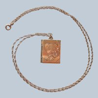 Monogram B Locket Book Style Gold Filled Vintage Chain Necklace