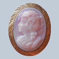 Pink Glass Cameo Pin Antique Gold Filled Frame Ceres Demeter