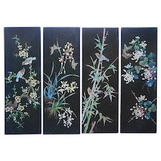 Black Lacquer Wall Panels 4 Vietnamese Vintage Asian Colorful Carving Birds Flowers