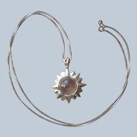 Crystal Orb Sterling Silver Sunburst Pendant Necklace Vintage CL