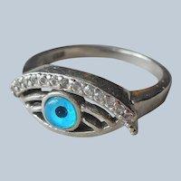 Sterling Silver Evil Eye Ring Blue Glass Tiny Diamonds Size 6.25